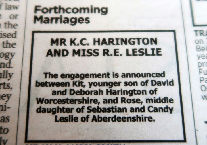 The announcement appeared in the Times of London on September 27.