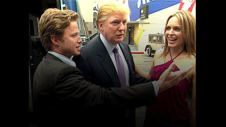 In this 2005 frame from video, Donald Trump (center)prepares for an appearance on 'Days of Our Lives' with actres