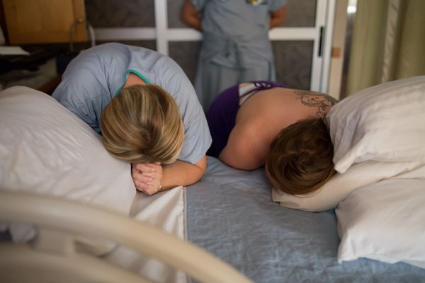 """""""This mama, on the right, labored hard. She was exhausted and decided it was time for an epidural. Her midwife lovingly guide"""