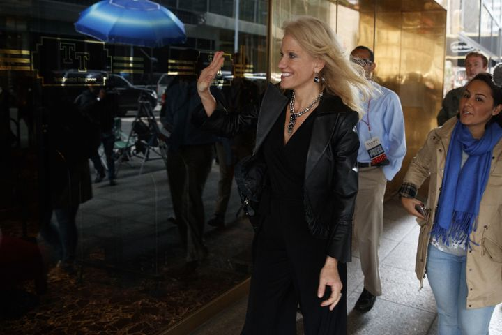 Kellyanne Conway, Trump's campaign manager, arrives at Trump Tower on Oct. 8, 2016.