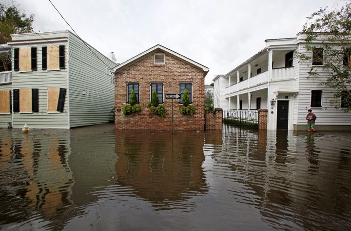 Floodwaters in Charleston, S.C., on Oct. 8, 2016, after Hurricane Matthew.