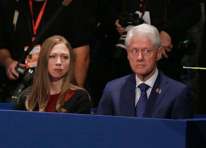 Chelsea and Bill Clinton at the second presidential debate, Oct. 9, 2016.