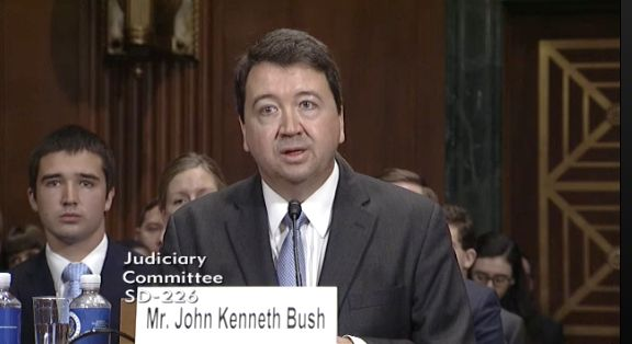 Here's U.S. circuit court judge John Bush testifying in his Senate confirmation hearing in June. He thinks abortion