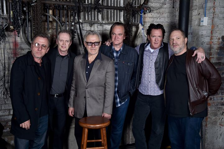 Actors Tim Roth, Steve Buscemi, Harvey Keitel, Quentin Tarantino, Michael Madsen and producer Harvey Weinstein pose duri
