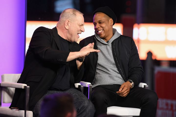Weinstein and Jay Z speak onstage on March 8, 2017 in New York City.