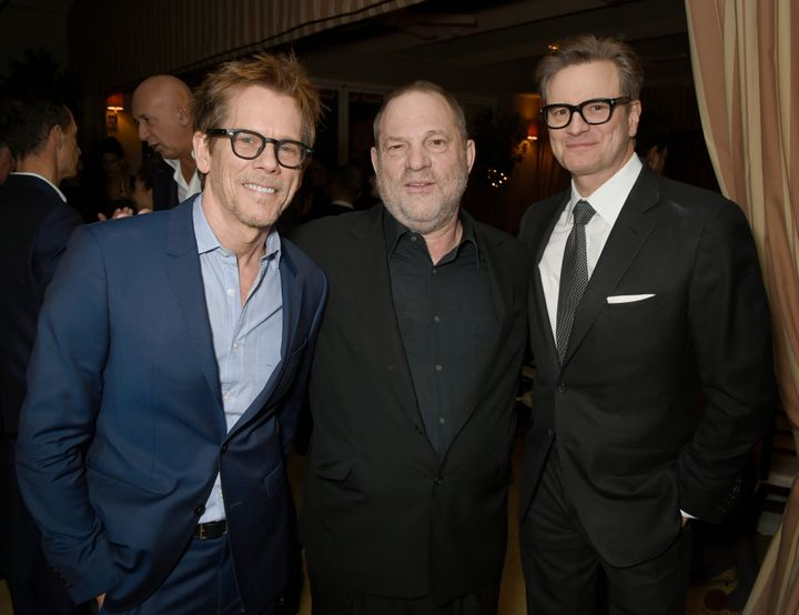 Actor Kevin Bacon, Weinstein and host Colin Firth attend a dinner in in Los Angeles, California, on Feb. 24, 2