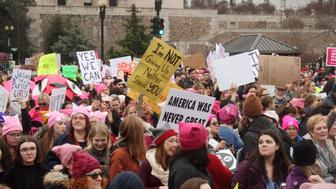 WOMEN'S MARCH ON WASHINGTON -- Pictured: Prostester march in Washington D.C. to raise awareness for women's rights on January 21, 2017 -- (Photo by: Nicole Mabry/NBC/NBC NewsWire via Getty Images)