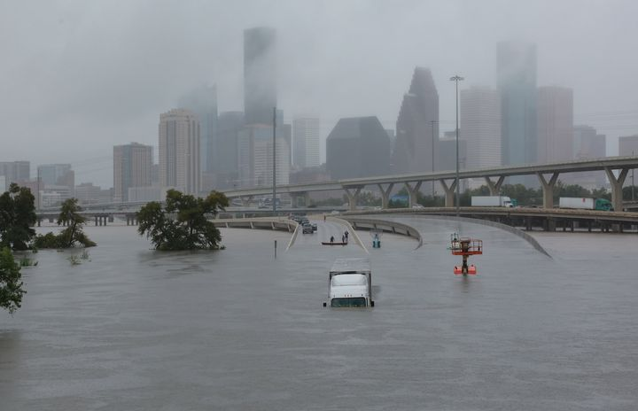 Interstate 45 is submerged from the effects of Hurricane Harvey seen during widespread flooding in Houston on Aug. 27, 2017.