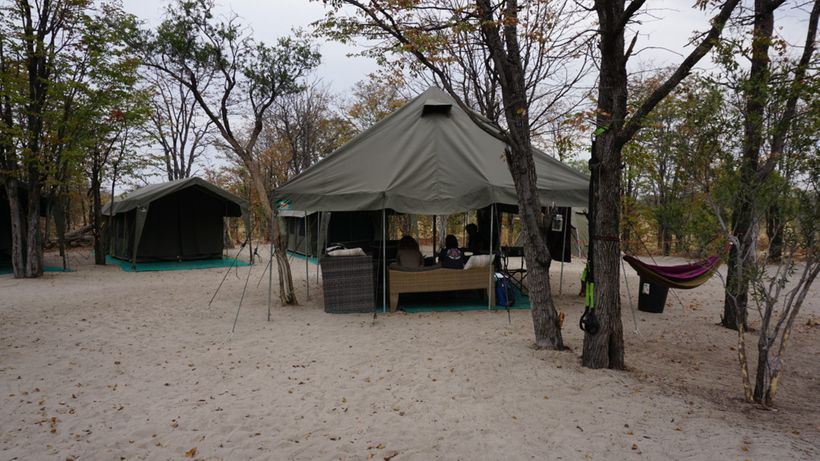Tents provide a place to sleep and communal areas.