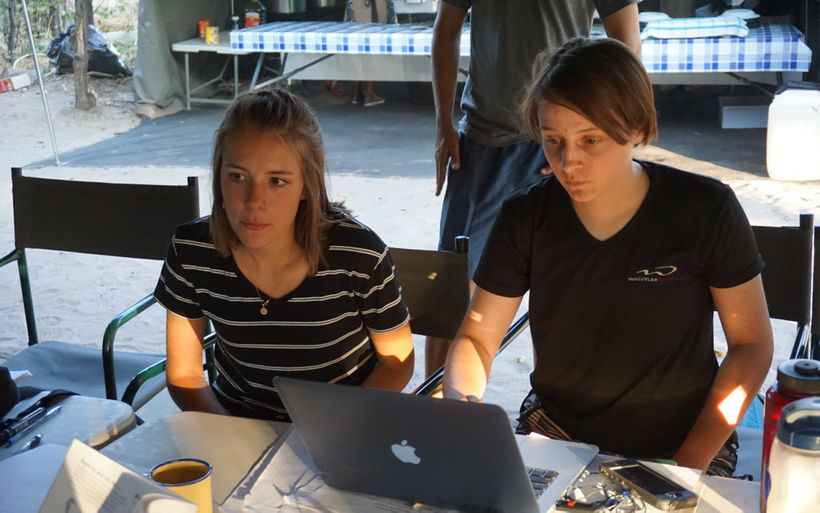 Ryleigh and Ava (right) works on a conservation project