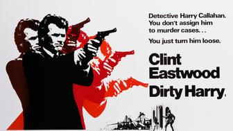 A poster for Don Siegel's 1971 crime film 'Dirty Harry' starring Clint Eastwood. (Photo by Movie Poster Image Art/Getty Images)