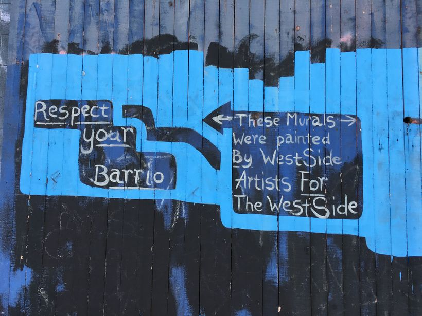 A warning, or an encouragement, to appreciate Westside murals, painted by residents for residents.