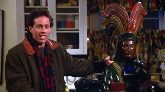 Jerry Seinfeld with a cigar store Indian