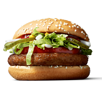 The McVegan in a promotional image from the McDonald's Finland