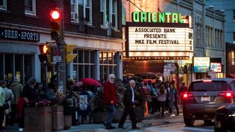 "MILWAUKEE, WI - OCTOBER 6: Theater-goers line the street for the Milwaukee Film Festival that will take place at the Oriental Theatre during HuffPost's visit to Milwaukee, Wisconsin, on Oct. 6, 2017, as part of ""Listen To America: A HuffPost Road Trip."" The outlet will visit more than 20 cities on its tour across the country. (Photo by Damon Dahlen/HuffPost) *** Local Caption ***"