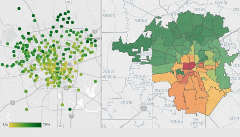 """Third grade reading levels vs. educational levels high (green) and low (red) in San Antonio, via <a rel=""""nofollow"""" href=""""http"""