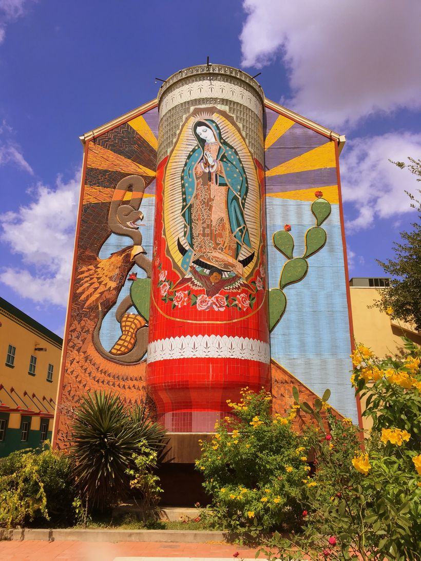 The façade of the Guadalupe Cultural Arts Center, in ZIP Code 78207, on San Antonio's predominantly Hispanic and historically