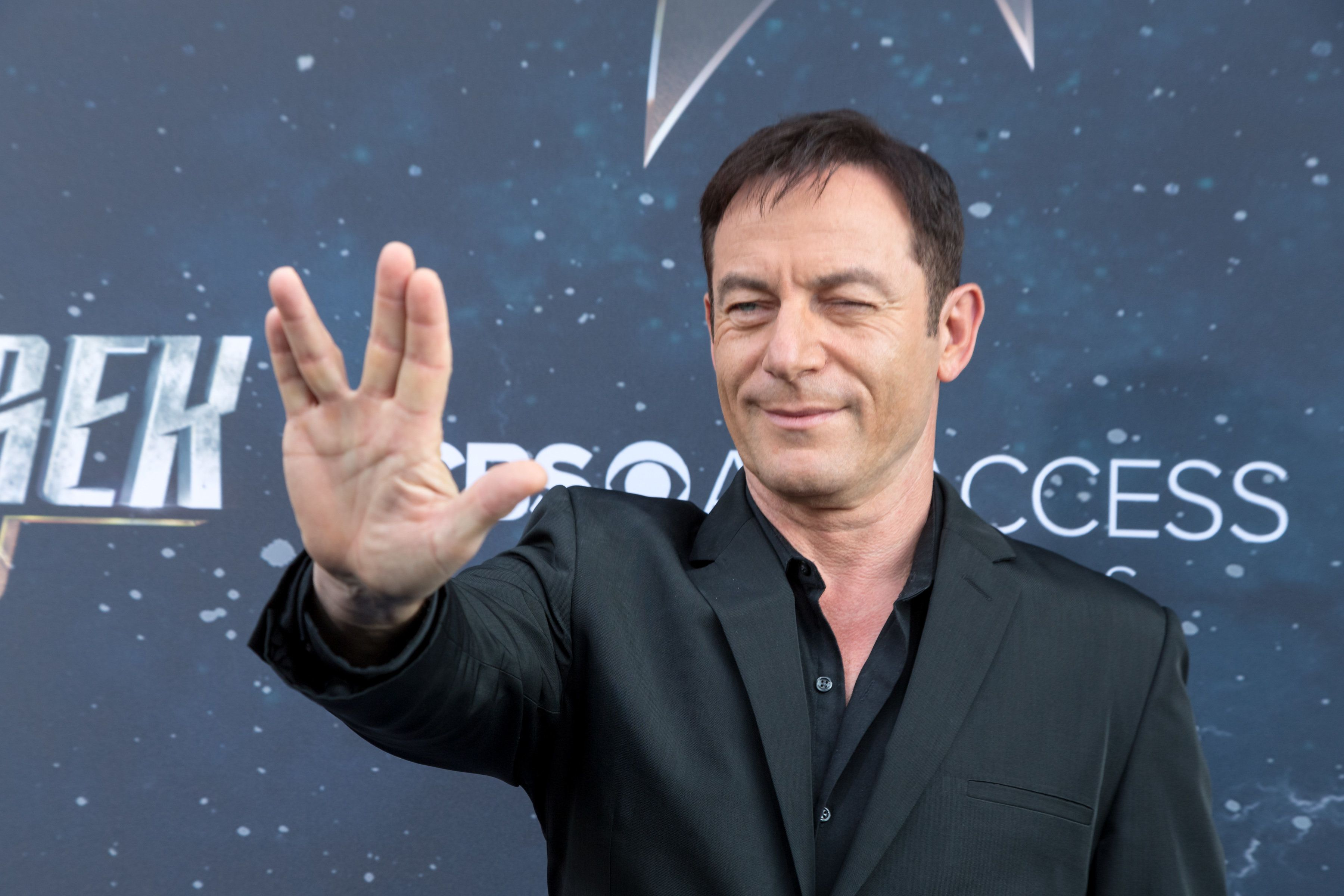 LOS ANGELES, CA - SEPTEMBER 19:  Actor Jason Isaacs arrives for the Premiere Of CBS's 'Star Trek: Discovery' at The Cinerama Dome on September 19, 2017 in Los Angeles, California.  (Photo by Greg Doherty/Patrick McMullan via Getty Images)