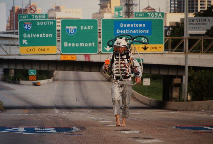 <p><em>Earthman 2 on Abandoned Interstate</em> [2015] by Dion Laurent</p>