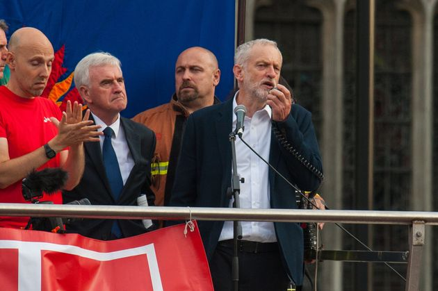 Labour leader Jeremy Corbyn speaks in Parliament Squarewhere the Momentum campaign group are holding...