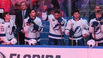 The Tampa Bay Lightning's J.T. Brown protests during the national anthem before the start of a game against the Florida Panthers at the BB&T Center in Sunrise, Fla., on Saturday, Oct. 7, 2017. (Matias J. Ocner/Miami Herald/TNS via Getty Images)
