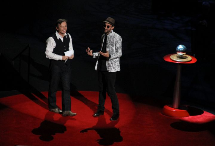 TED Curator Chris Anderson awarding artist JR the 2011 TED Prize