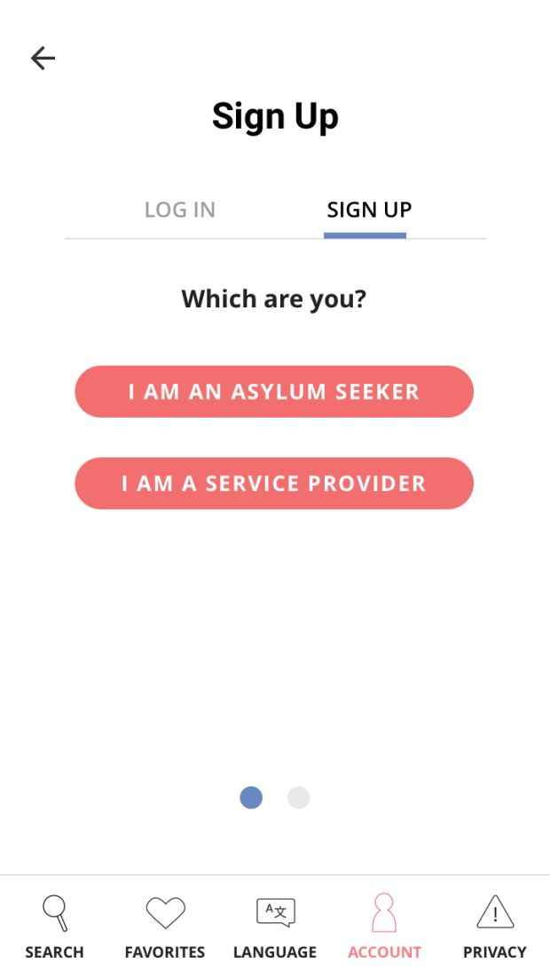 """<p><em>Mobile mockup: users can now create an optional, 100% free user account to save and share resource searches (via print, email or with another user account). Users will be prompted to select between creating an """"asylum seeker"""" or """"service provider"""" user account.</em></p>"""