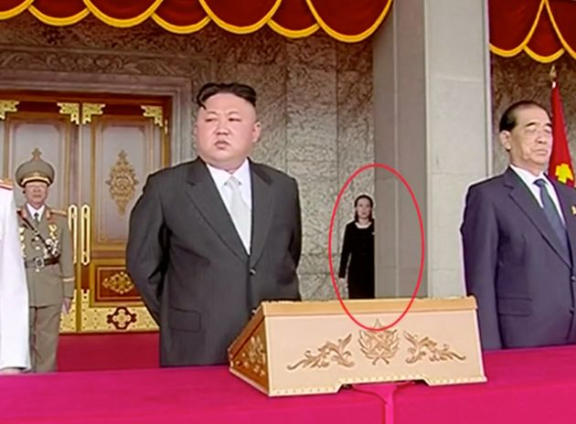 Kim Jong Un's younger sister (circled) has often been seen in the background at high profile state
