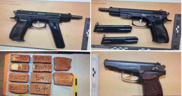 French police seized drugs and firearms after four Brits were arrested near