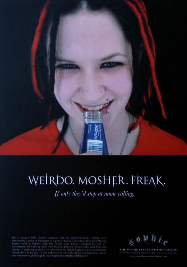 A campaign poster released in the wake of Sophie Lancaster's