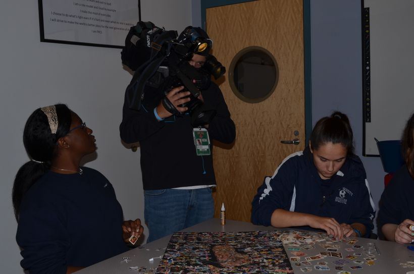 A team from NBC Boston filming Foxborough Regional Charter School students for a September 29 report by Abbey Niezgoda on the