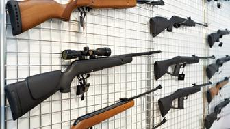 Air guns to stand in the window of the shop
