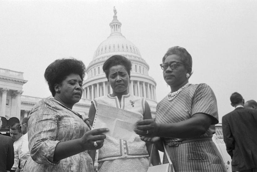 Fannie Lou Hamer, Victoria Gray, and Annie Devine at the U.S. Capitol