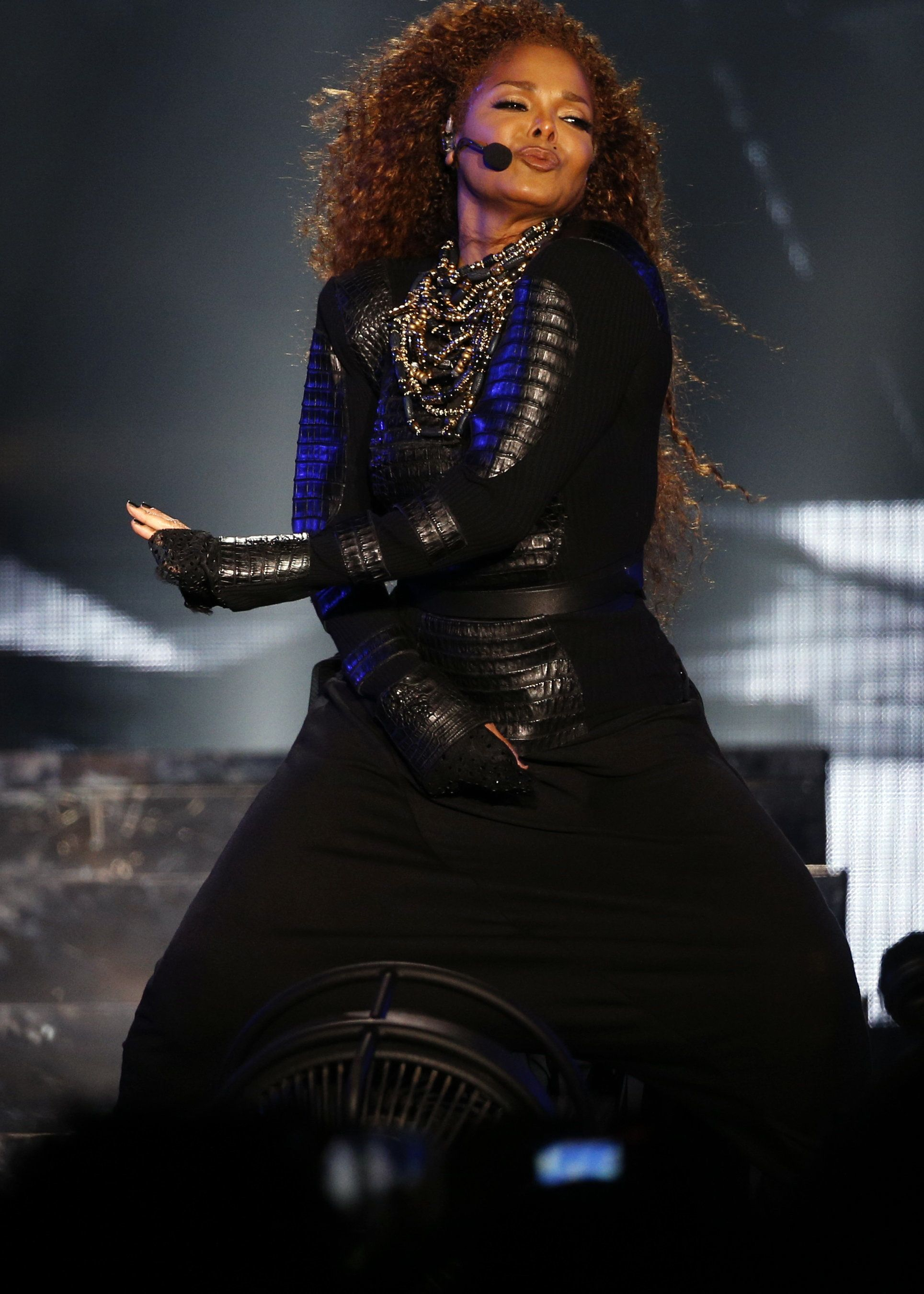 US singer Janet Jackson performs during the Dubai World Cup horse racing event on March 26, 2016 at the Meydan racecourse in the United Arab Emirate of Dubai. Janet Jackson returned to the stage after a four-month hiatus for mysterious health reasons, bringing her energetic dance show to Dubai.   / AFP / KARIM SAHIB        (Photo credit should read KARIM SAHIB/AFP/Getty Images)
