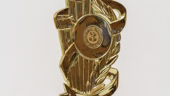 Third place, cup and bronze medal, isolated on a white background