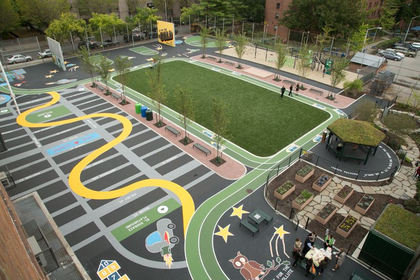 The old asphalt schoolyard at La Cima Charter School in Brooklyn, NY was converted by The Trust for Public Land to a green co