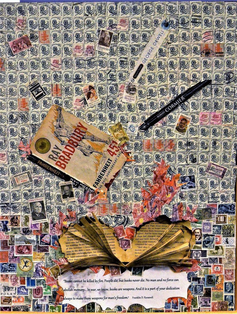 <em>Books Cannot Be Killed by Fire </em> (April 2017). In this searing image, made with canceled stamps, flames singe fanned