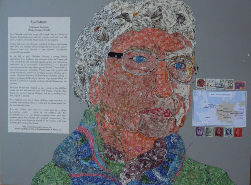 A collage of <em>Eva Paddock</em>, a child Holocaust survivor from  Czechoslovakia, is among the 13 collages created as part