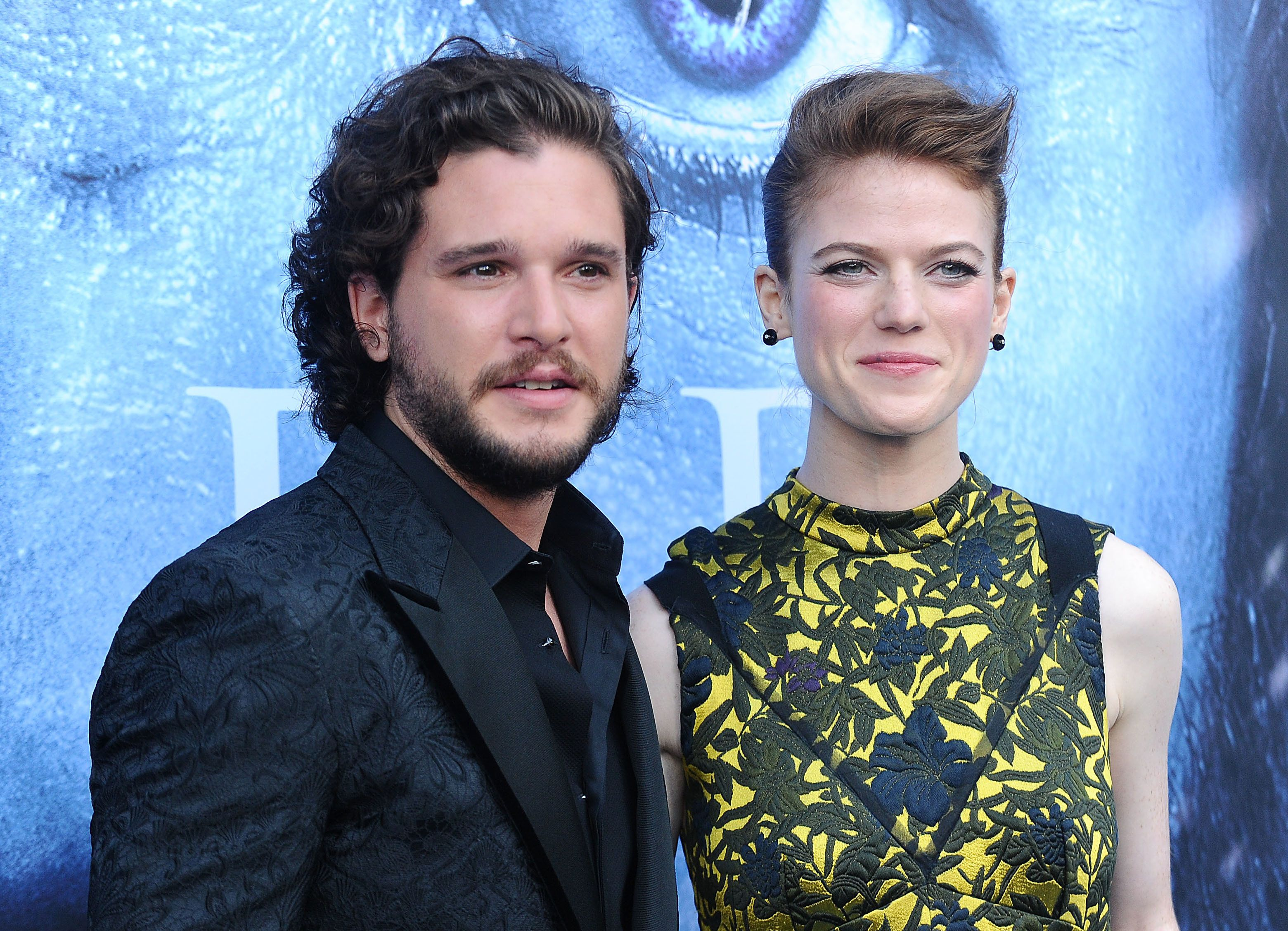 LOS ANGELES, CA - JULY 12:  Actor Kit Harington and actress Rose Leslie attend the season 7 premiere of 'Game Of Thrones' at Walt Disney Concert Hall on July 12, 2017 in Los Angeles, California.  (Photo by Jason LaVeris/FilmMagic)