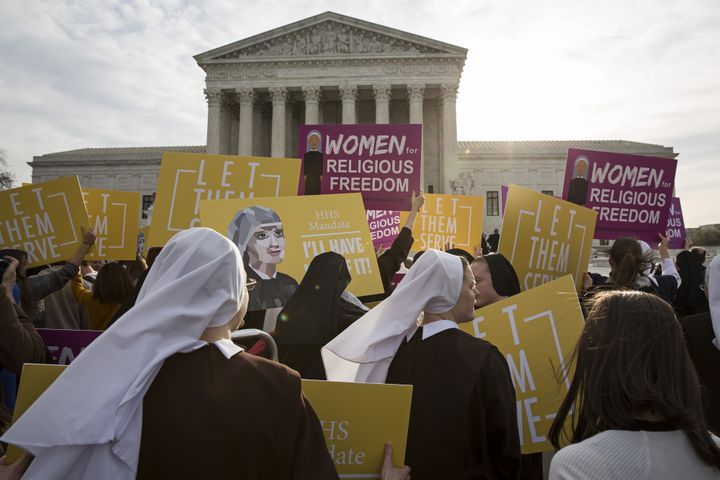 Nuns opposed to the Affordable Care Act's contraception mandate rallied outside of the Supreme Court in Washington, D.C., on