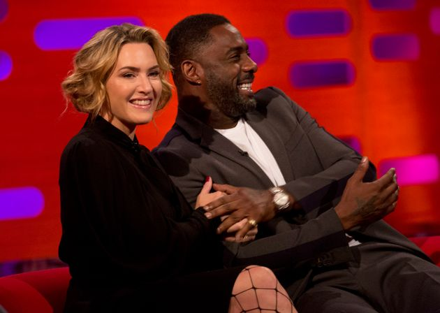 Kate Winslet and Idris Elba during filming of the Graham Norton