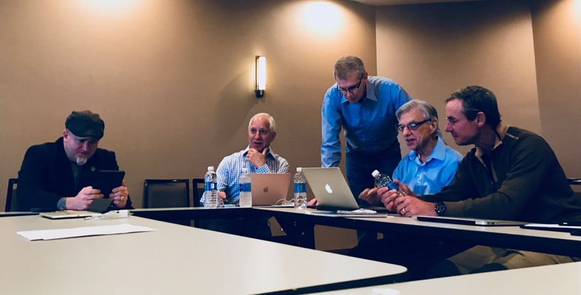 (left to right) Luis Elizondo, Jim Semivan, Stephen Justice, Hal Puthoff, and Christopher Mellon at a recent meeting in Seatt