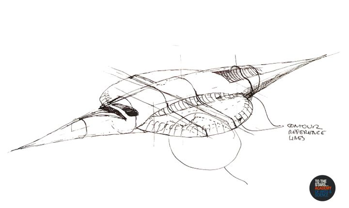 <p>A TTS Academy concept for a vehicle drawn by Stephen Justice, embodying the technology they seek to understand and develop - a visionary concept for a revolutionary electromagnetic vehicle based on technology observed in unidentified aerial phenomena </p>