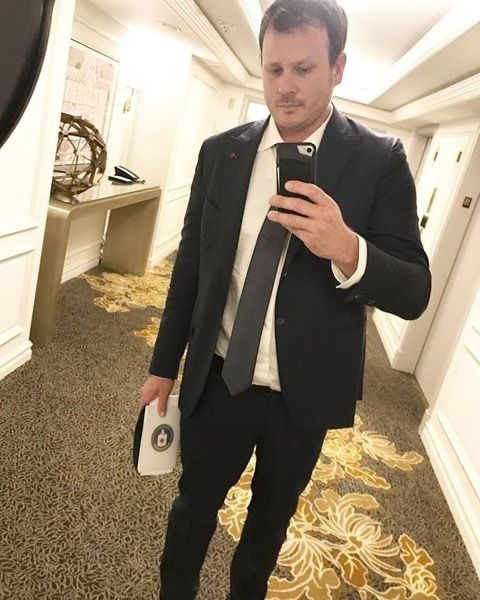 <p>Tom DeLonge after a long meeting in Sept., 2017.</p>