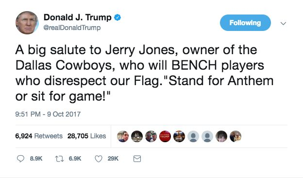 Trump Praises Cowboys' Jerry Jones For Vow To Bench Players Who Don't Stand For Anthem