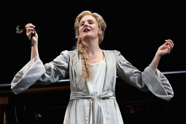 Romola Garai (playing Sarah Churchill) on stage during the 'Queen Anne' photocall at Theatre Royal on...