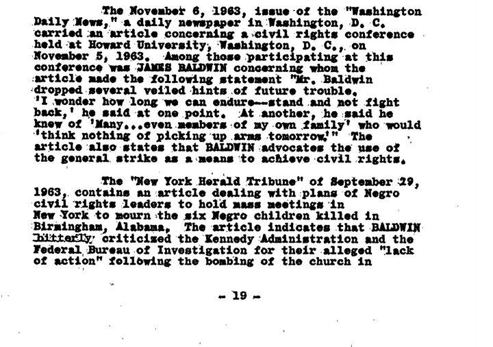 Screenshot of James Baldwin's COINTELPRO file.