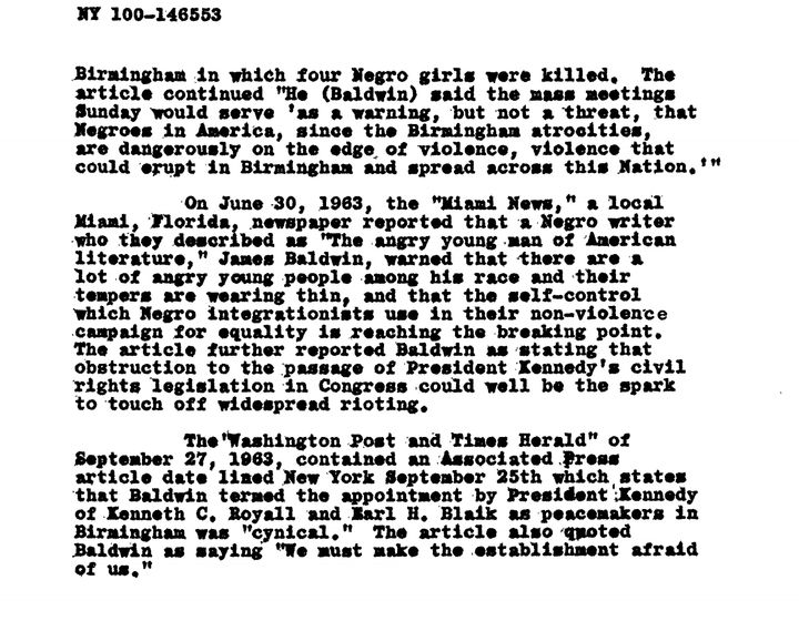 A screenshot of James Baldwin's COINTELPRO file.