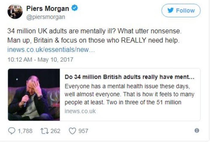 <p>see Dave? Pr*ck Morgan is an a**hole, and when we refuse to talk to each other about our feelings we're only making him stronger. Like some disgusting parasitic creature that feeds on using their privilege to make others feel worse. And we don't stand for that sh*t Dave, we just don't. </p>