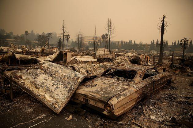 Damaged homes and cars in Santa Rosa,